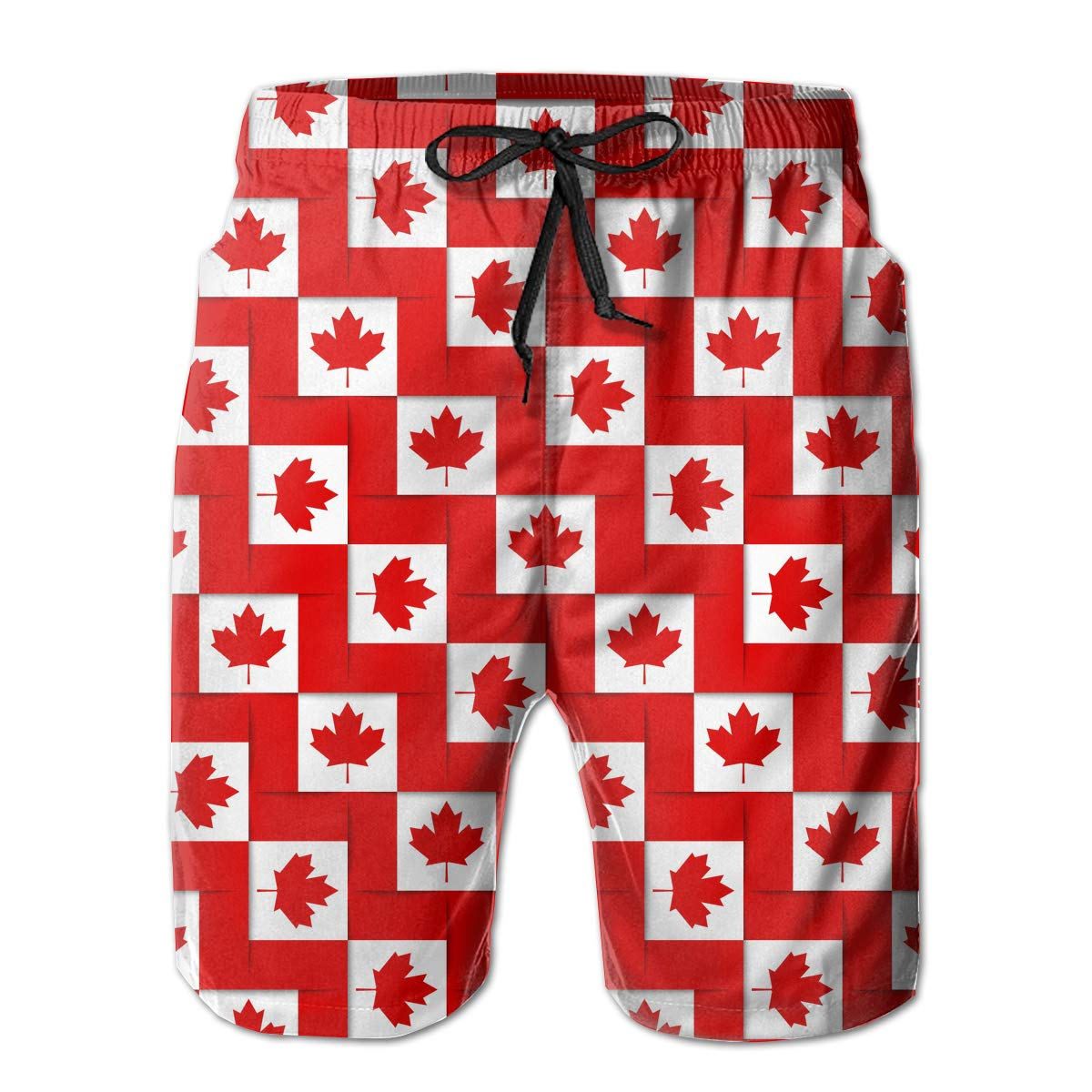Canadian National Flags Pattern Mens Boardshorts Slim-Fit Beachwear