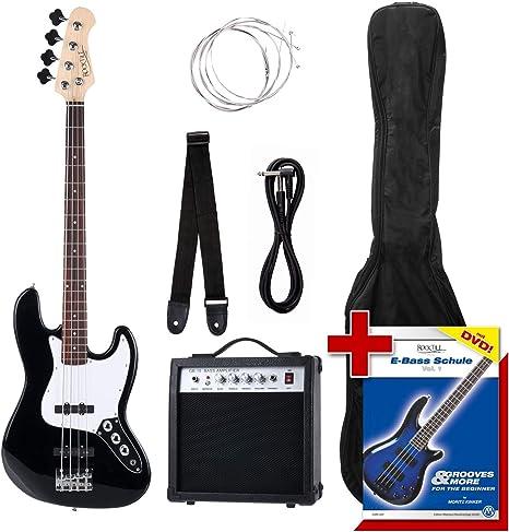 Rocktile Groovers - Pack bajo eléctrico JB, color negro: Amazon.es: Instrumentos musicales