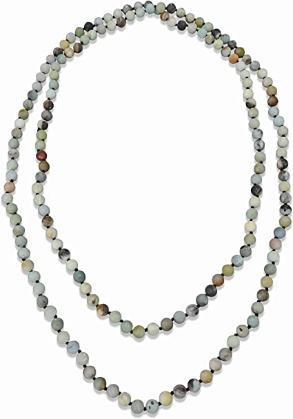 """Natural Multi-colored Amazonite Hand-Knotted Long Necklace 60/"""" FREE SHIPPING"""