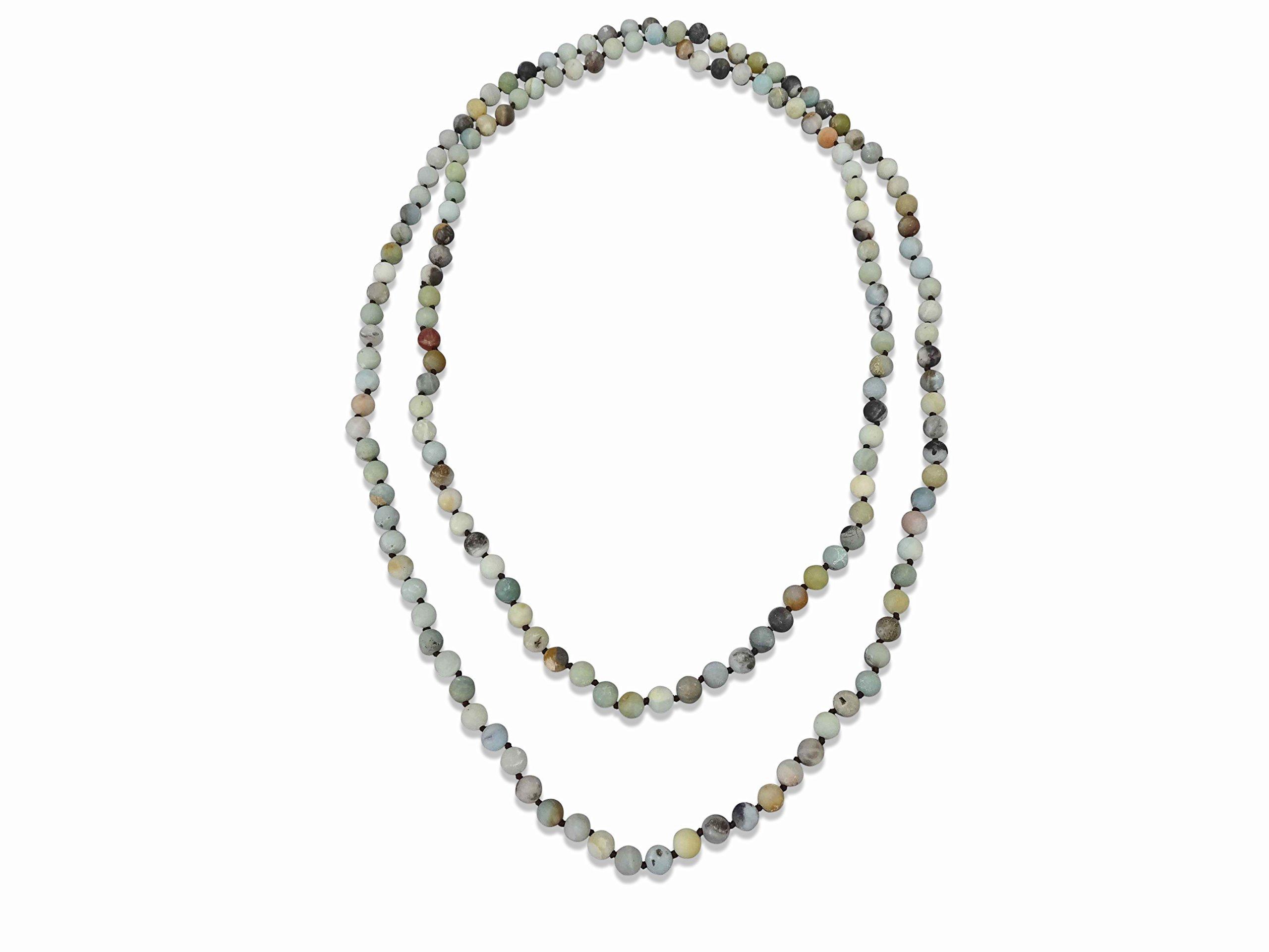 BjB Jewelry Endless Infinity Style Semi-Precious 8MM Matte Amazonite Beaded Strand Necklace, 60'' Long.