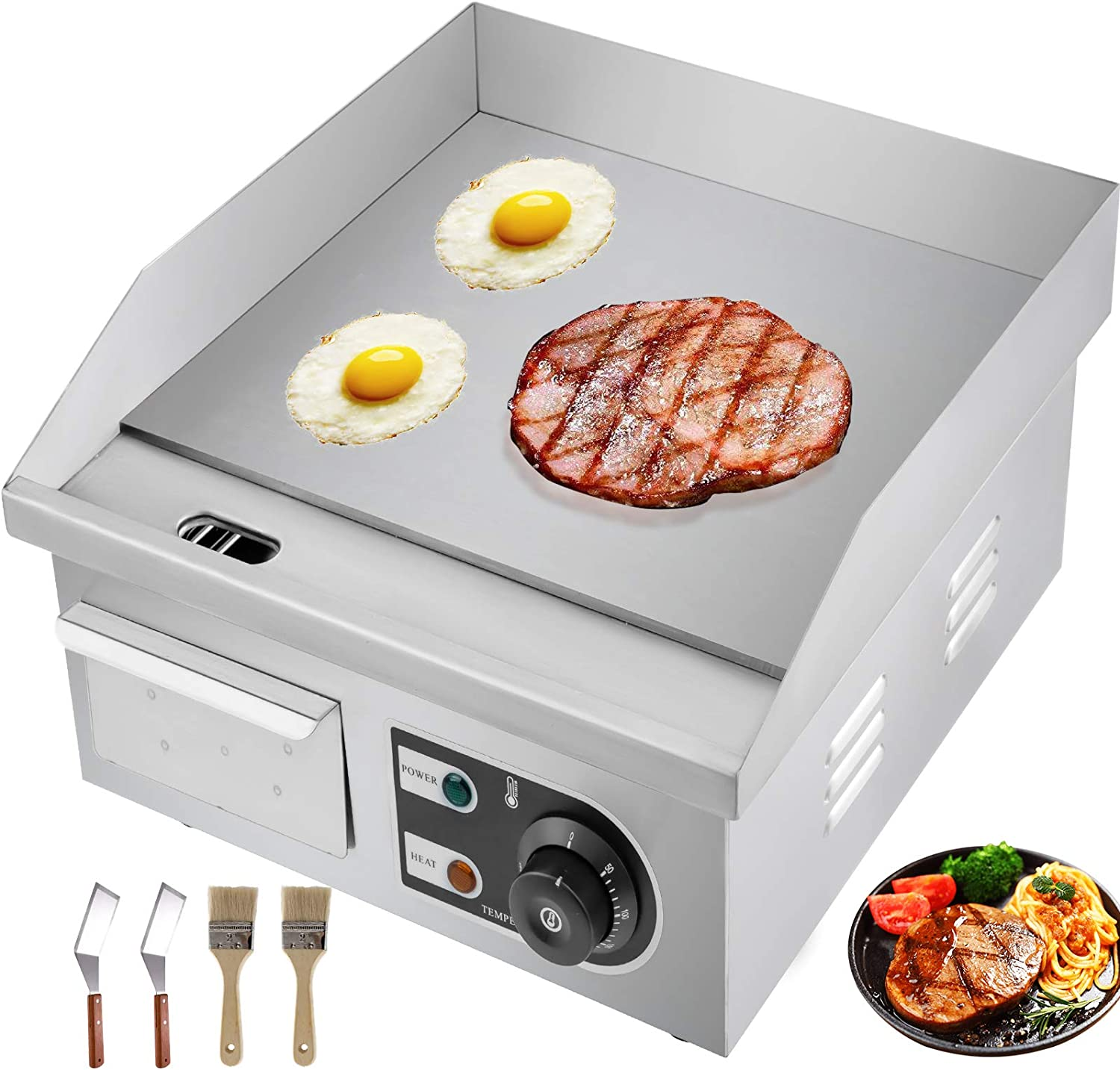 """VBENLEM 14"""" Electric Countertop Griddle Grill 110V 1500W Non-Stick Commercial Restaurant Gril Stainless Steel Flat Top Grill with Adjustable Temperature Control 122°F-572°F"""