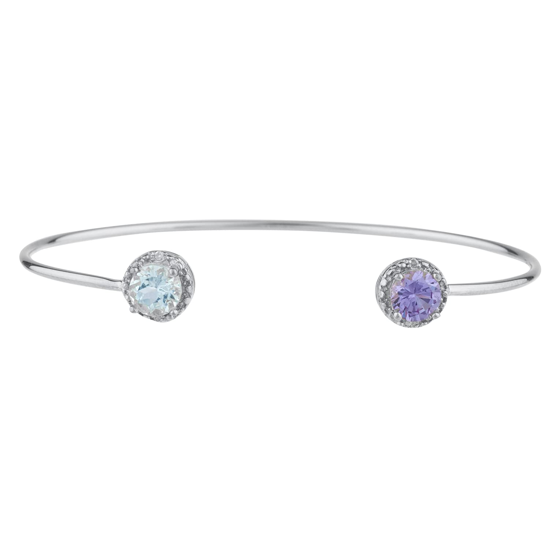 Genuine Aquamarine Sterling Silver Bracelet