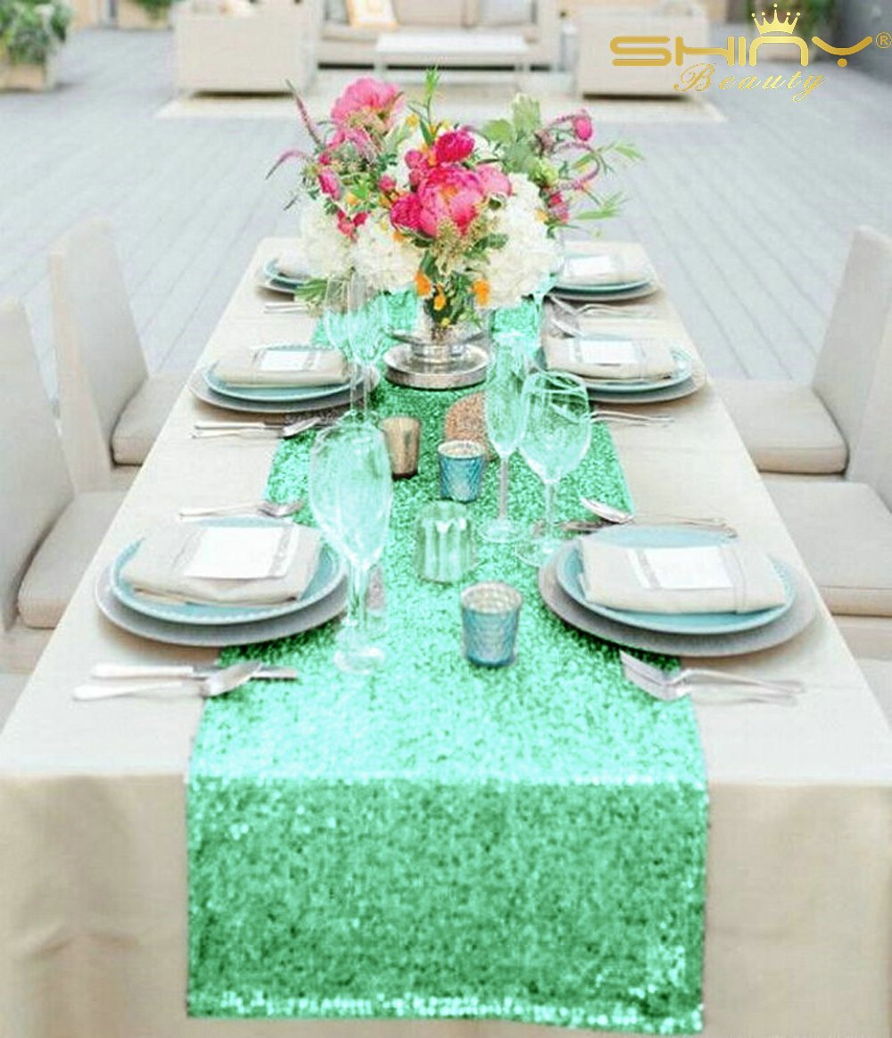 Mint Green Wedding Decoration Ideas: ShinyBeauty Mint Green Table Runners Pack Of 5 Wedding