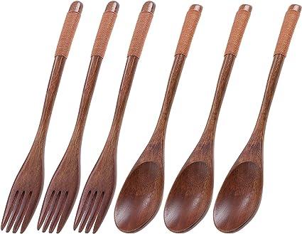TsunNee Juego de 6 tenedores de cuchara de madera natural, mango largo, juego de cubiertos de estilo janpanés para camping, cocina al aire libre