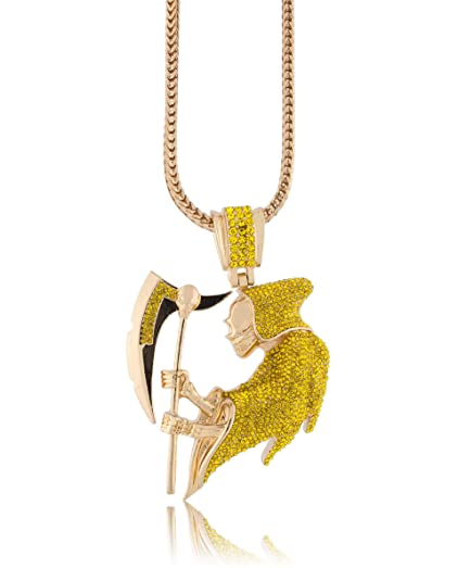 Iced out yellow canary grim reaper pendant piece w 30 36 franco iced out yellow canary grim reaper pendant piece w 30quot 36quot franco aloadofball Gallery