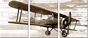 Biuteawal Airplane Wall Art for Boys Bedroom Decor Propeller Aircraft on Vintage Wooden Background Picture Canvas Print 3 Piece Art Painting for Kids Gift Home Nursery Decor Gallery Wrap
