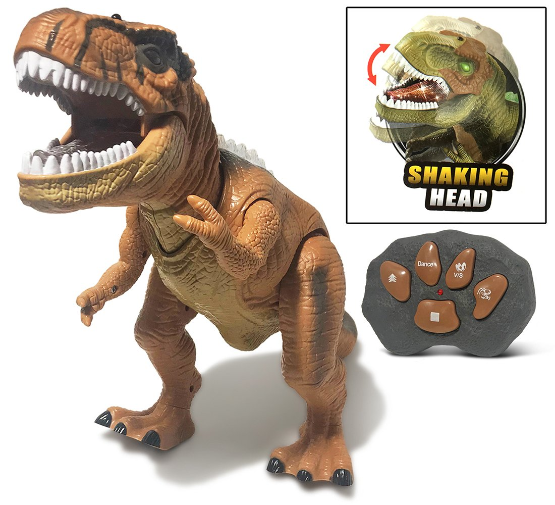 Warp Gadgets - Remote Control LED Brown T-Rex Dinosaur 19 Inches - Walking Dancing, Roaring, Light Up RC Toy by Warp Gadgets (Image #3)