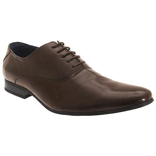 Route 21 - Zapatos de vestir con cordones con 5 ojales Modelo Oxford Plain Hombre Caballero - Trabajar / Fiesta / Boda