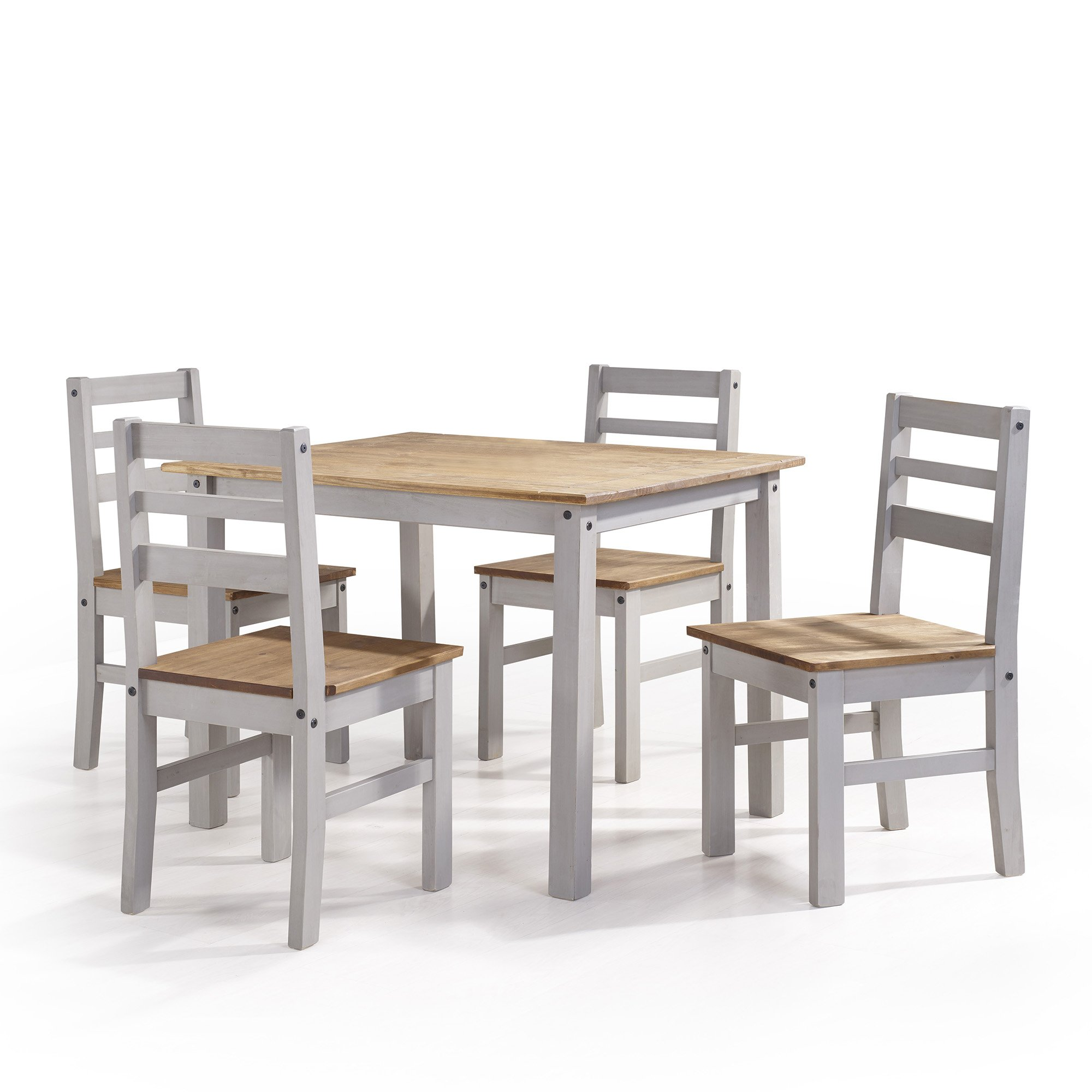 Manhattan Comfort Maiden Collection Reclaimed Traditional Modern 5 Piece Pine Wood Dining Set, 4 Chairs and 1 Table Wood/Gray