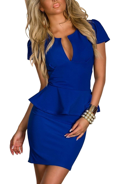 TALLA 3XL. Boliyda Bodycan de corte bajo vestido delgado Slim club vestido informal para las mujeres Azul 3XL