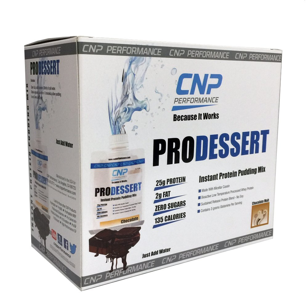 CNP ProDessert Instant Pudding | Professional Grade Protein Supplement | Ready to Mix/Just Add Water (1 box / 10 ct, Chocolate Malt)