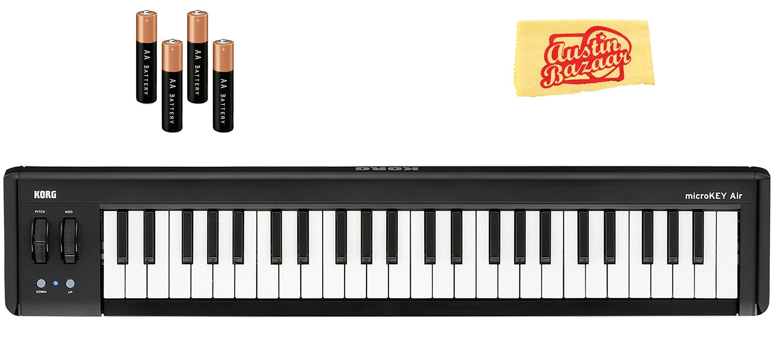 Korg microKEY Air 49-Key Wireless MIDI Controller Bundle with AA Batteries and Austin Bazaar Polishing Cloth