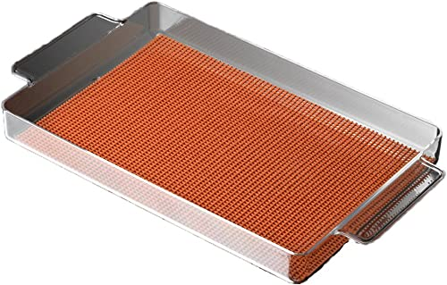 Kraftware 12 by 20-Inch Lucite Rectangular Tray Lined with Skid Resistant Fishnet, Spicy Orange Fabric