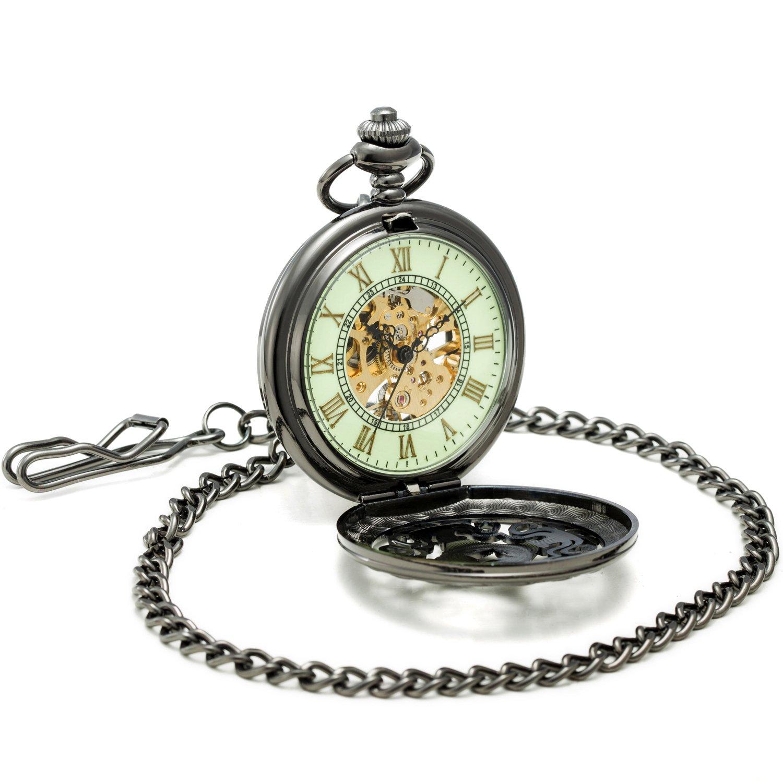 Sewor Gentleman Style sculpté Squelette lumineux remontage manuel montre de poche (Noir squelette)