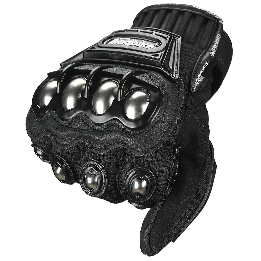 ILM Steel Knuckle Motorcycle ATV Motocross Dirt Bike Racing BMX MX Downhill Tactical Gloves (M, BLACK) by ILM (Image #5)
