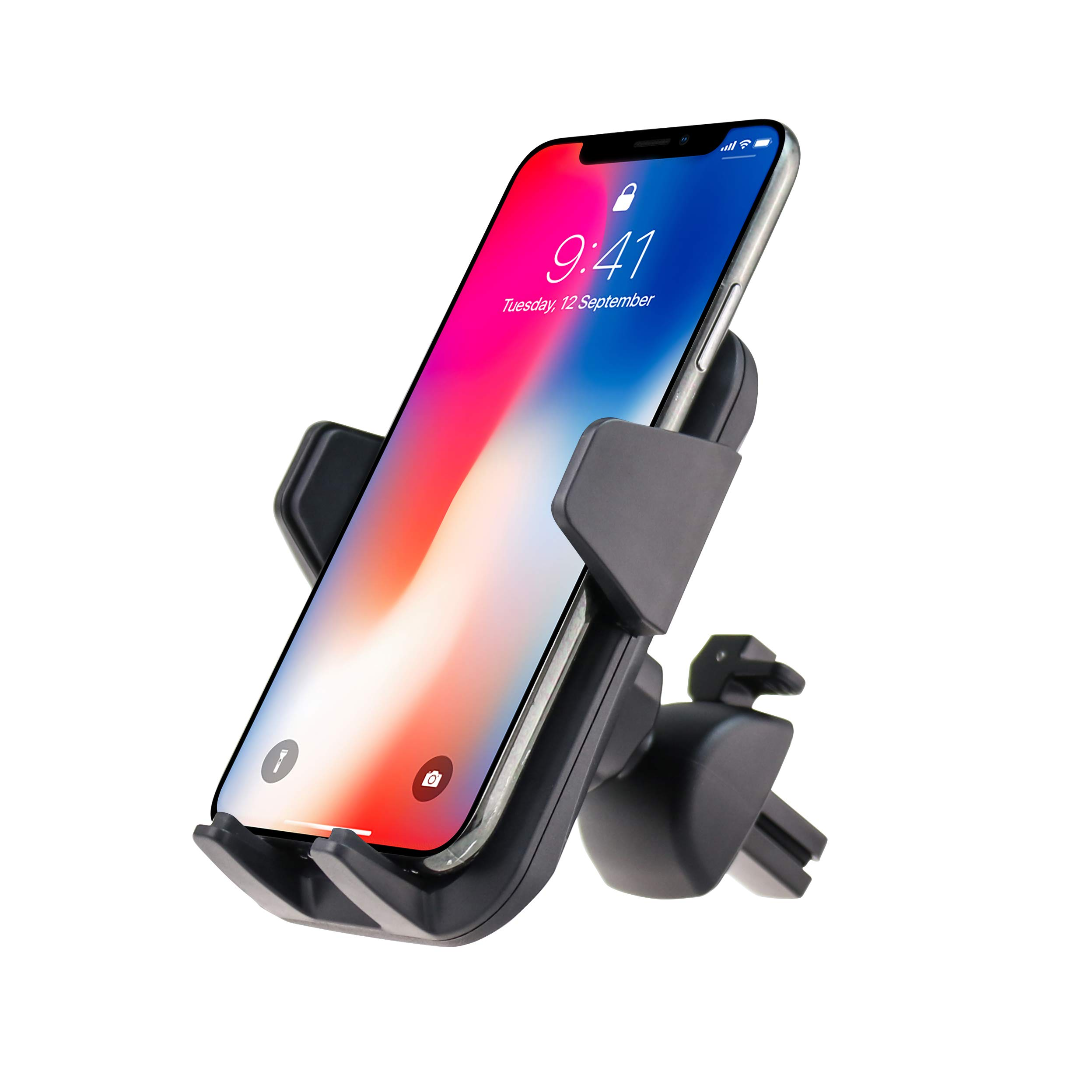Fugetek Universal Smartphone Car Air Vent Holder, Adjustable Mount Cradle, One Touch Release, Durable, Compatible with iPhone XR/XS Max, XS/X, 8/8P, 7/7P, Galaxy S10,S9,S8, HTC, Google (Grey) by Fugetek