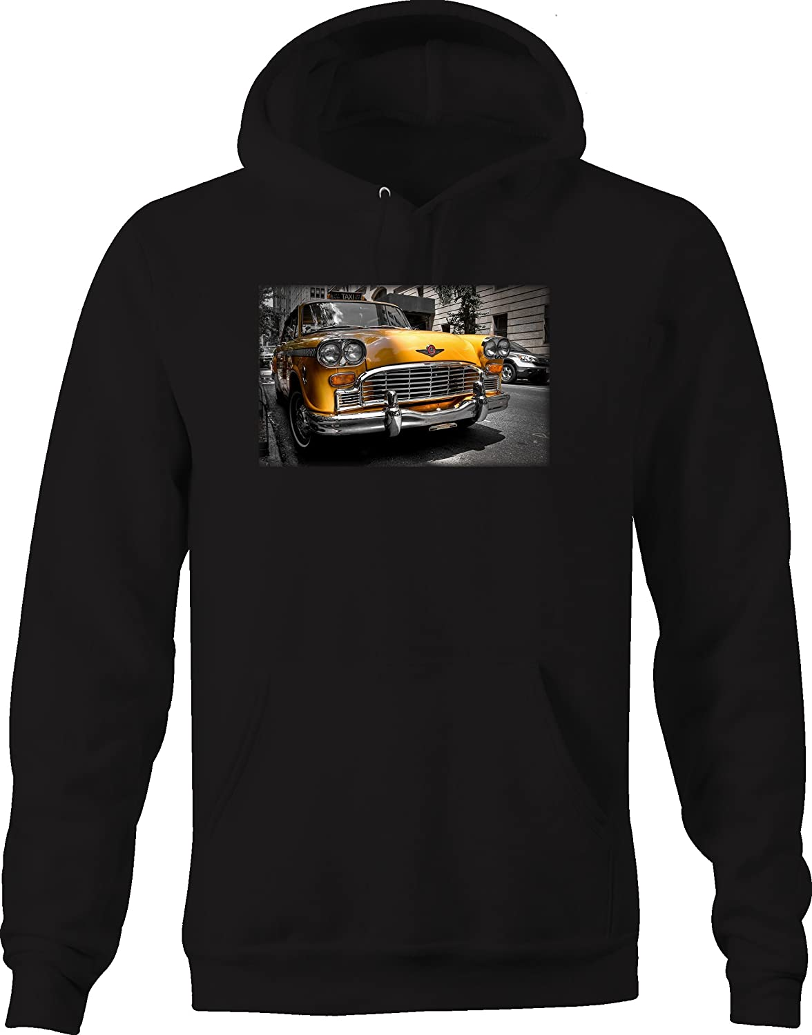 Classic Yellow Taxi Cab Hotrod Vintage Retro Automotive Art Hoodie for Men