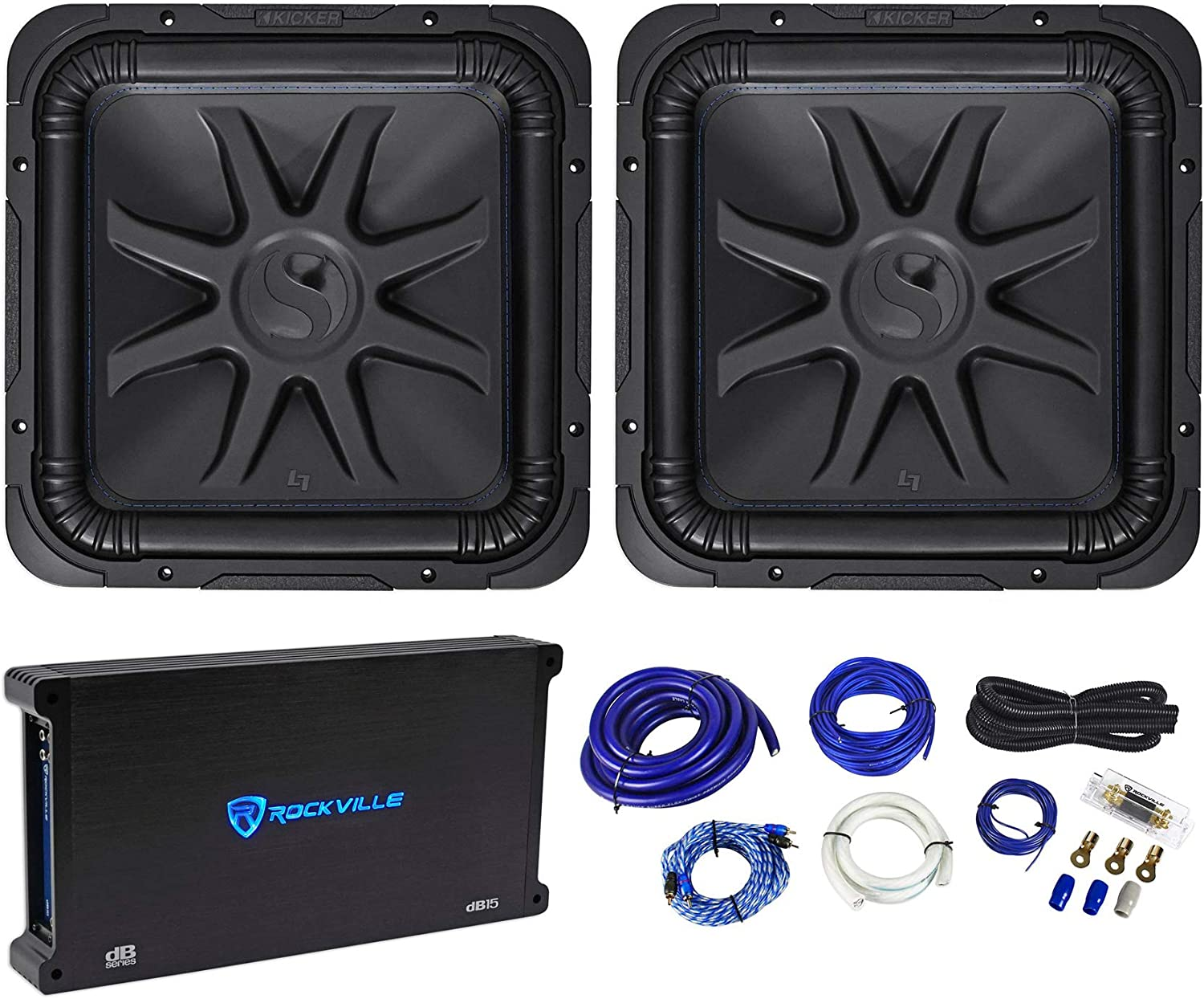 "(2) Kicker 44L7S152 15"" 4000W Solobaric L7S Subwoofers+Mono Amplifier+Amp Kit 712O9cgKTtLSL1500_"