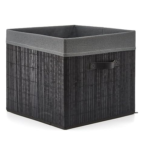 EZOWare Caja de Almacenamiento Bambú Cesto Grande Decorativa Plegable con Asas y Forro de Tela Gris