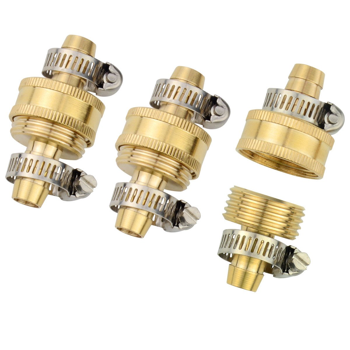"3Sets Brass Smaller 1/2"" Garden Hose Mender Repair Male Female Connector with Stainless Clamps"