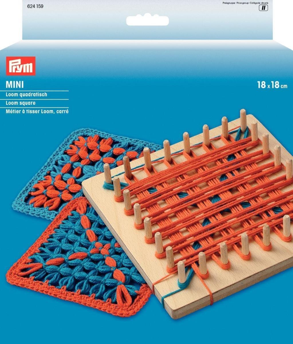 PRYM Mini Square Knitting Loom 18 x 18cm, Wood, Multi-Colour, 21 x 18 x 3.2 cm