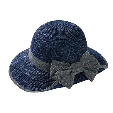 LOPILY Sombrero de Paja Visera Verano Color SóLido Sombra Salvaje ...