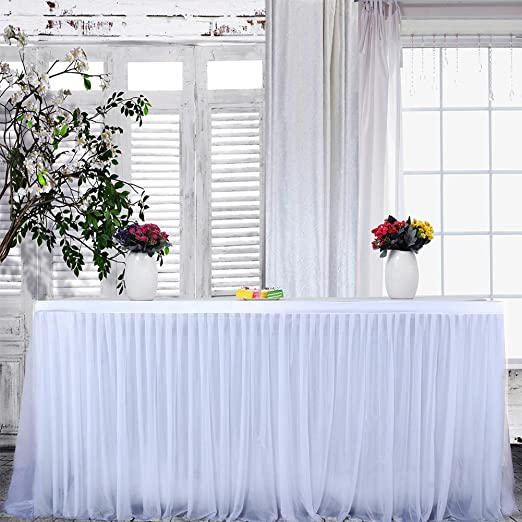 Falda de Mesa de tutú Mantel de Tul de Gasa Blanca de 9 pies, Falda de