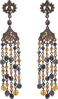 Zephyrr Fashion Oxidized Alloy Earrings Brown Glass Beaded Circular Shaped For Women//Girls