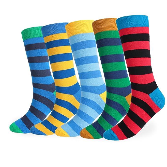 FLYCHEN Hombre 5 pares de calcetines de algodón multicolor Stripe algodón rico talla única EU 39-45 color 1: Amazon.es: Ropa y accesorios