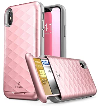 premium selection 4d6ce b6104 Clayco iPhone X Case, [Argos Series] Premium Hybrid Protective Wallet Case  for Apple iPhone X (Built-in Credit Card/ID Card Slot) (RoseGold)