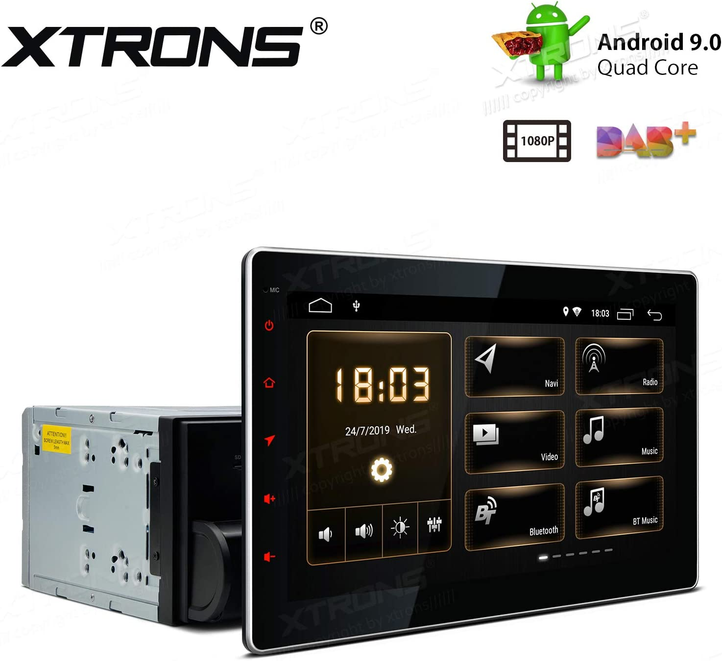 XTRONS 10.1 inch Touch Display Android 9.0 Pie Quad-Core Car Stereo Radio Navigator GPS with USB Port Supports TPMS DVR 4G 3G OBD Backup Camera