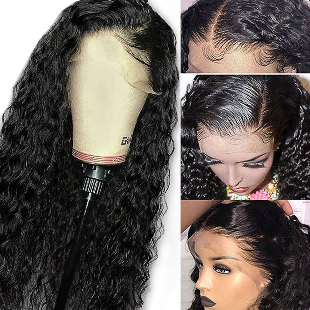 Amazon Com 13x4 Lace Front Wigs Deep Wave Human Hair Wigs For Black Women 18 Inch Glueless Pre Plucked Natural With Baby Hair Unprocessed Brazilian Virgin Human Hair Loose Deep Curly Wet