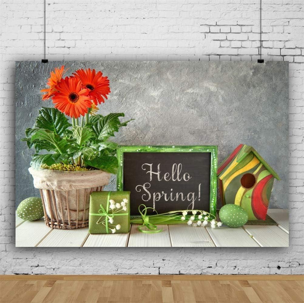 GoEoo Vinyl Hello Spring Theme Backdrops 10x7ft Easter Day Background Blackboard Orange Gerberas Green Easter Eggs Gift Birdhouse Grunge Wall Wooden Floor Children Adults Portraits Greeting Card