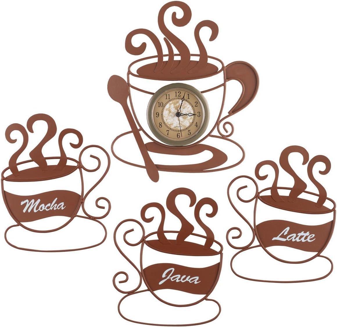 Miles Kimball Metal Coffee Wall Art and Clock Set