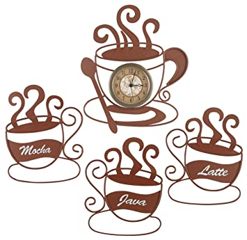 Metal Coffee Wall Art And Clock Set