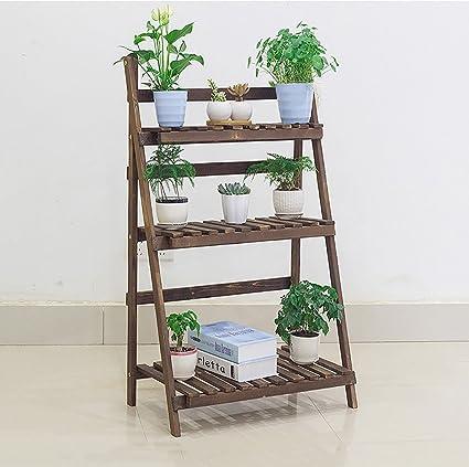 the best attitude ed29a 4a356 Amazon.com : Wooden Folding Flower Pot Stand 3 Tier Garden ...