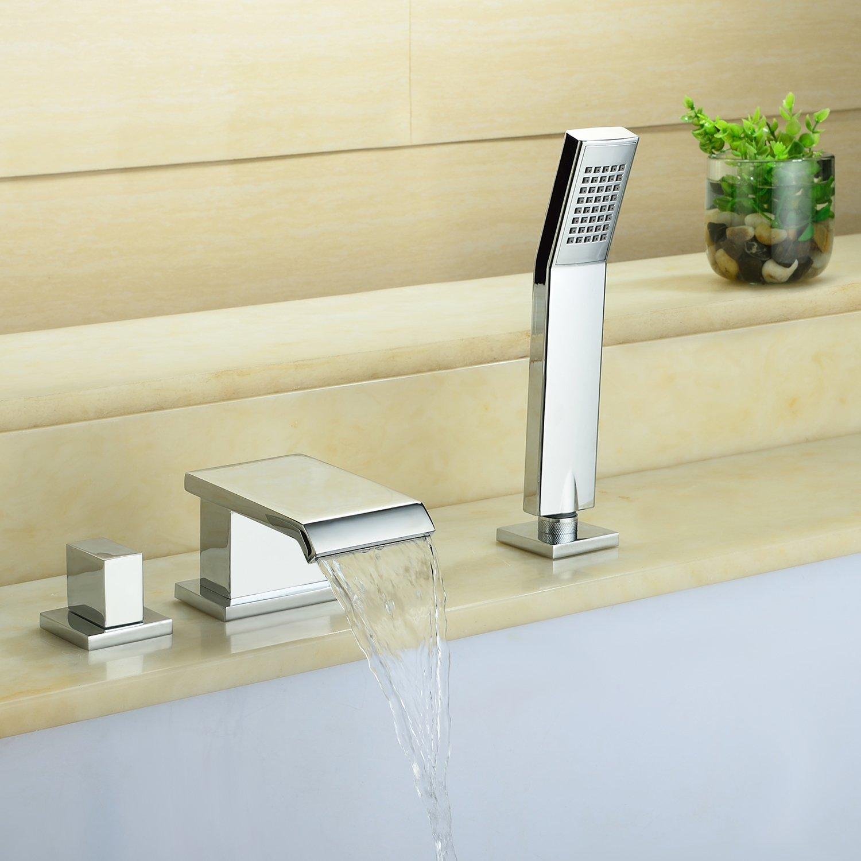 3 Loch Einhebelmischer Wannenarmatur Wannenrand Wasserhahn Badewanne Armatur mit ausziehbarer Handbrause Warmwasser mische Duscharmatur Wasserfall