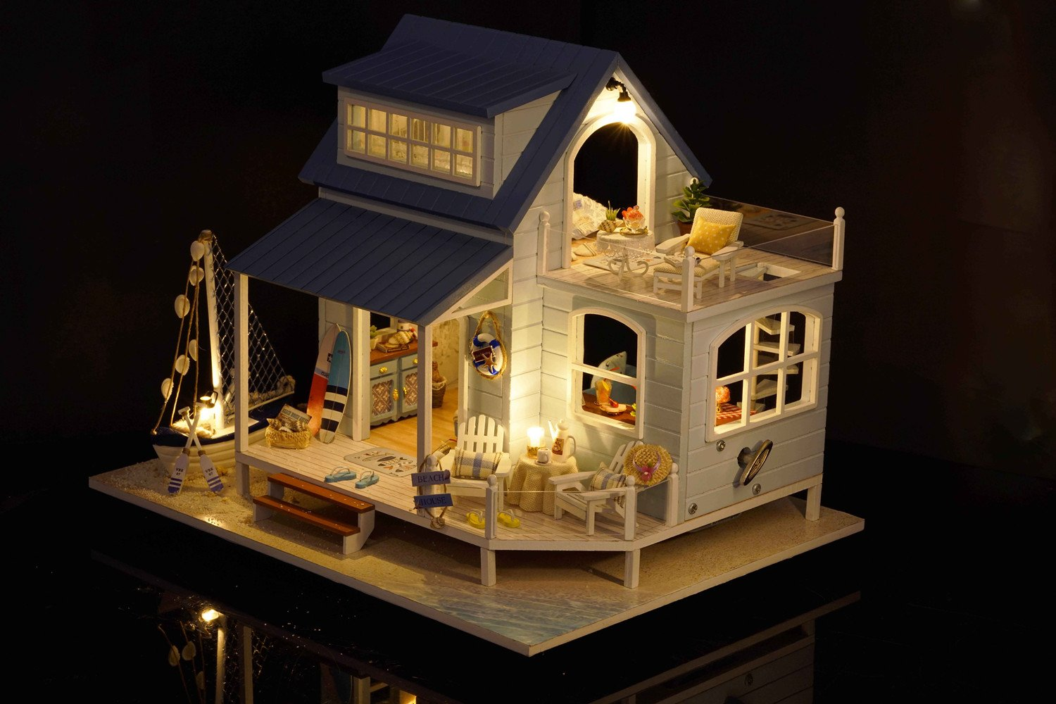 Time in Caribbean Sea Kisoy Romantic and Cute Dollhouse Miniature DIY House Kit Creative Room Perfect DIY Gift for Friends,Lovers and Families