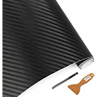 "LZLRUN 3D Carbon Fiber Vinyl Wrap - Outdoor Rated for Automotive Use - 12"" x 60"" Knife + Hand Tool 12"" x60"" Black"