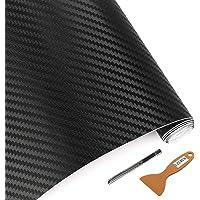 """lzlrun 3D vinilo de fibra de carbono para envolver–clasificado para uso al aire libre y en coches –30.48 cm x 152.40 cm, con cuchillo + herramienta de mano, Negro, 12"""" x60"""""""