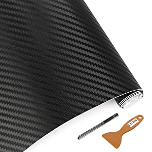 "LZLRUN 3D Carbon Fiber Vinyl Wrap - Outdoor Rated for Automotive Use - 12"" x 60"" Knife + Hand Tool (Black)"