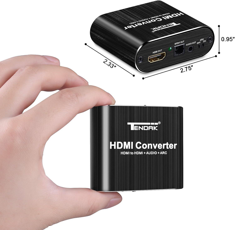 Tendak Conversor de HDMI a DVI SPDIF, Toslink de 3,5 mm, adaptador de audio est/éreo L//R, para PS4, Roku Bul-Ray, reproductor de DVD, Sky HD Box