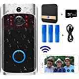 Video Doorbell Camera (2020 Upgraded) with Chime, Wi-Fi with PIR Motion Detection, Wide Angle, Night Vision, Real-Time Notification, Two-Way Talk, 32GB SD Card is Included