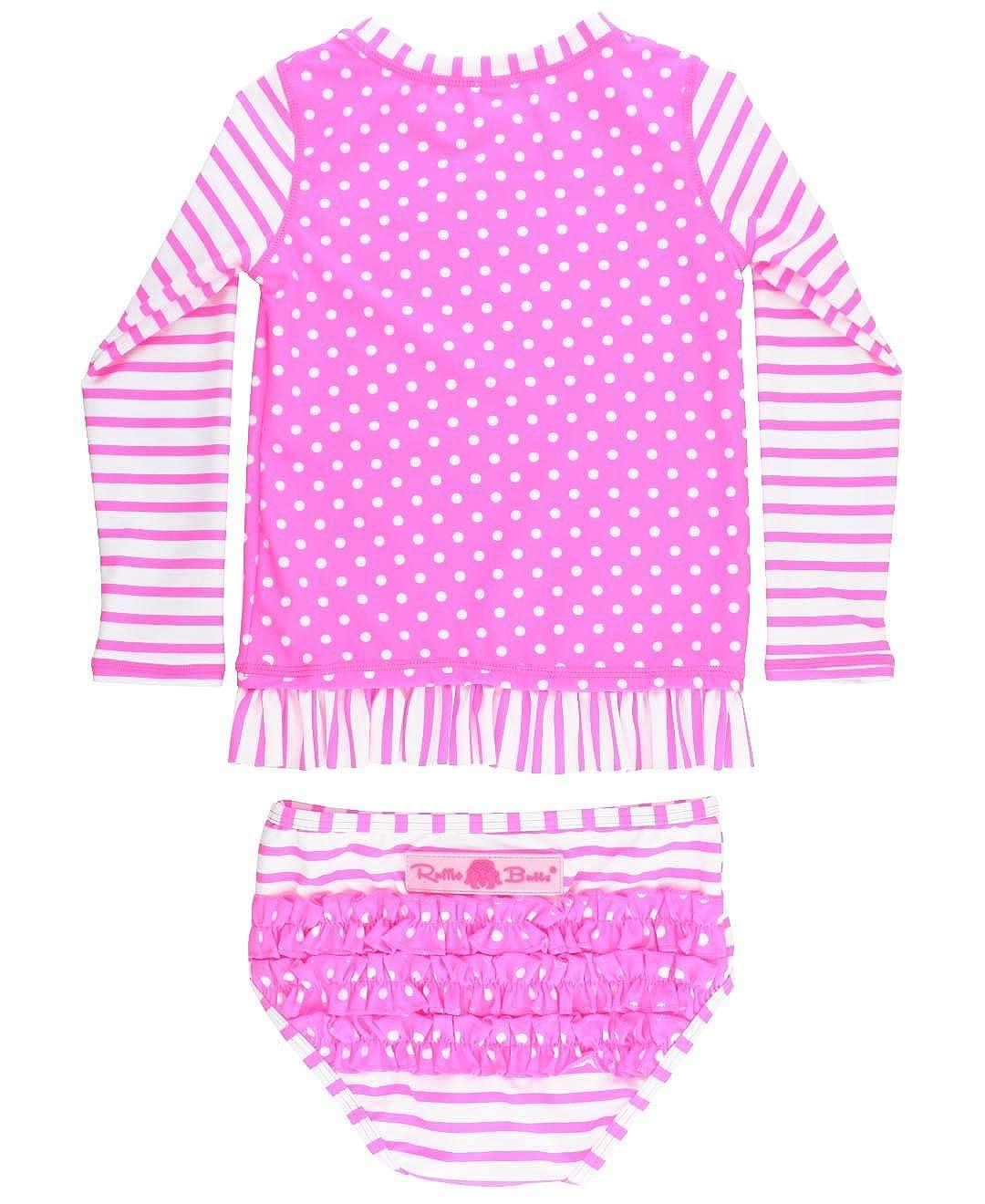 RuffleButts Little Girls Rash Guard 2-Piece Long Sleeve Swimsuit Set - Stripe Polka Dot UPF 50+ Sun Protection RGSYYXX-LSP1-SC-TDLR
