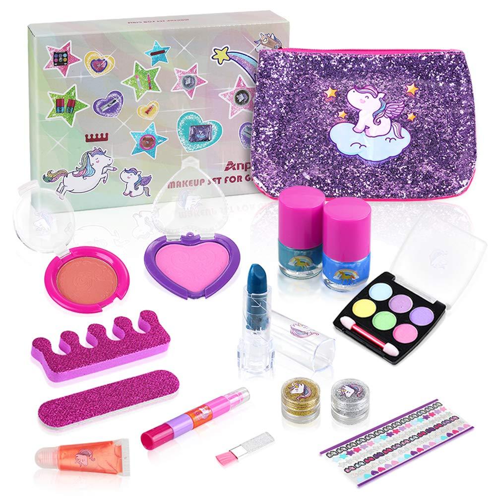 Anpro 15pcs Kids Washable Make Up Set, Kids Cosmetics Kit Include Unicorn Bag, Makeup Set, Nail Polish Kit - Ideal for Little Girls Birthday