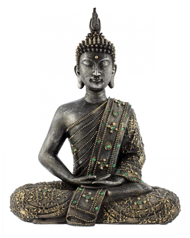 Wallmonkeys Buddha Statue Zen Bronze Wall Decal Peel and Stick Graphic WM277113 (30 in H x 24 in W)