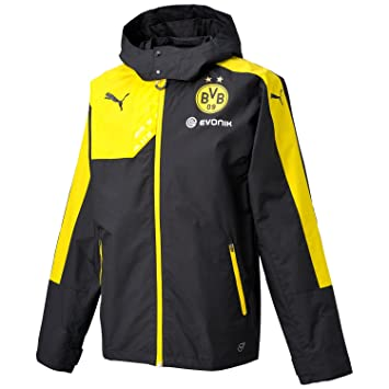 8c7e68945c726 Puma Men s BVB Rain Coaching Jacket with Hood and Sponsor Black Black-Cyber  Yellow Size