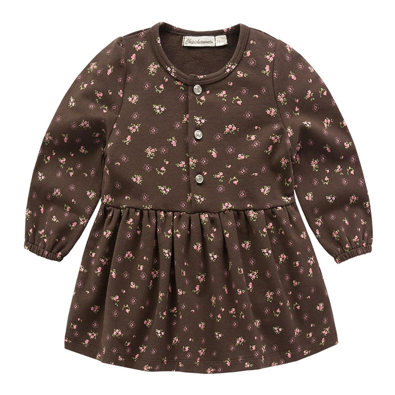 Vine Bébé Filles Robe Florale Coton Robe à Manches Longues Princesse Vêtements