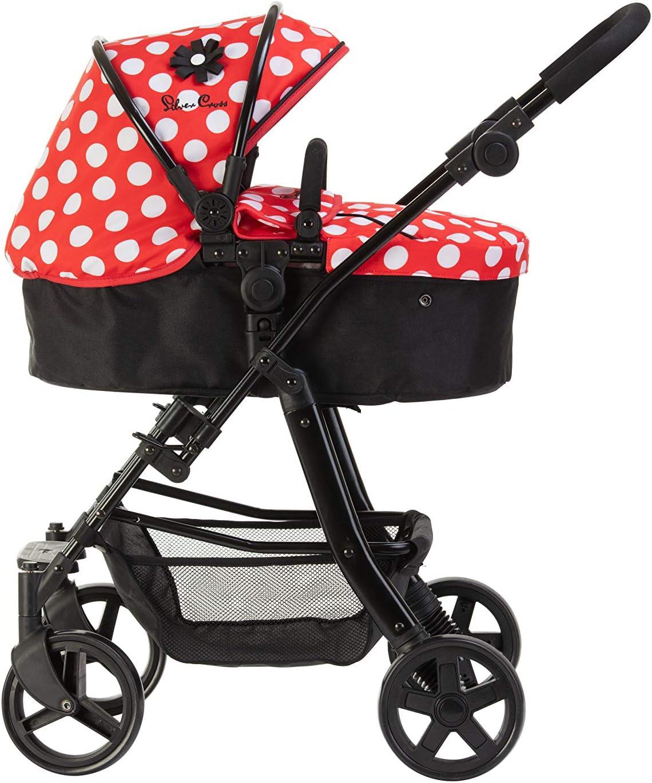 Carrito para muñecos 5 en 1 Silver Cross Pioneer: tejido Limited Edition Red Polka Dot. Recomendado para niños de 4 a 8 años.