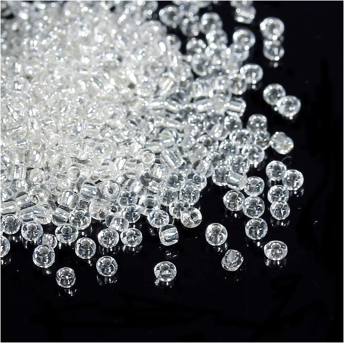 size 8//0 Grey-Lined Rainbow approx 3mm 50g glass seed beads